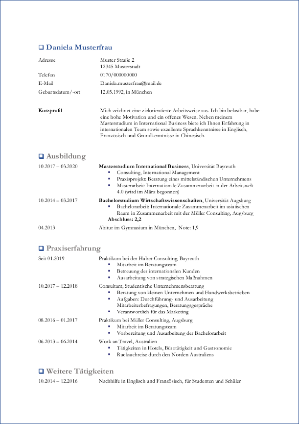 Lebenslauf | Berufsstart.de
